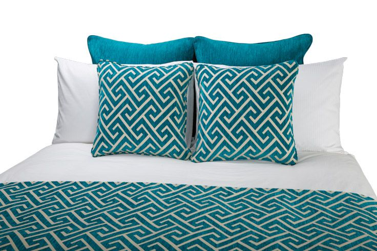 "Bed Shawl and Large Decorative Cushions -""Apollo"" Turquoise, Euro Cushions - ""Persia"" Turquoise by HotelHome Australia. #hotelcushions #greekkey #hotelhome #hotelbed #cushions"