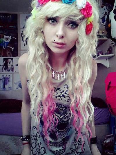 Curly hair; pink and bleach blonde hair; scene queen