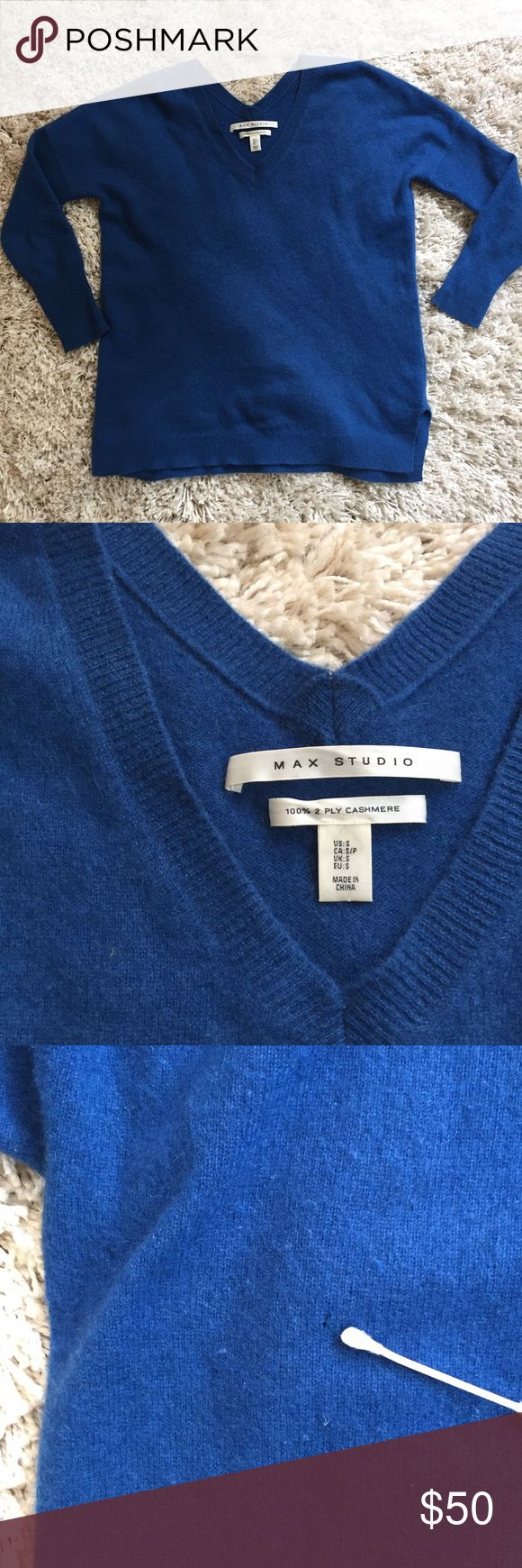 100% Cashmere Max Studio Sweater, Size S + Amazing royal blue color 😍 + 100% 2-ply Cashmere   + Perfect for fall and winter  + Small hole on the back near left shoulder. Pictured and sized next to a Q-tip.   ⭐️All items are steamed cleaned and shipped within 48 hours of your purchase.   ⭐️If you would like any additional photos or have any questions please let me know.  ⭐️Sorry, no trades. But will listen to ALL fair offers. Thanks for shopping! Max Studio Sweaters V-Necks