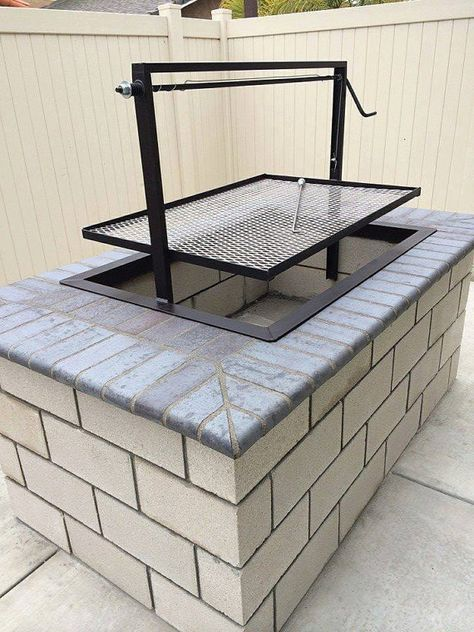 Santa Maria BBQ Grill. Designed and Fabricated by JD Fabrications. Our pits are completely welded together there are no bolts. Our drop in units can be customized to your needs. Call us if you do not see what you want. Listing price is for a steel 36 by 24 like the first image with