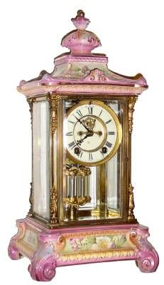 Antique Clock Crystal Regulator With A Porcelain Top And Bottom SO PRETTY U0026  IN PINKu003c