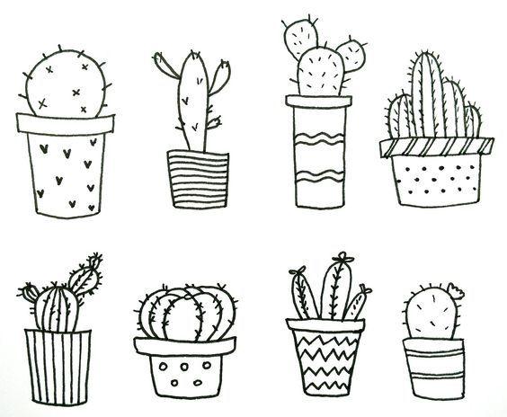 милые картинки кактусов черно белые имеют монеты, отчеканенные