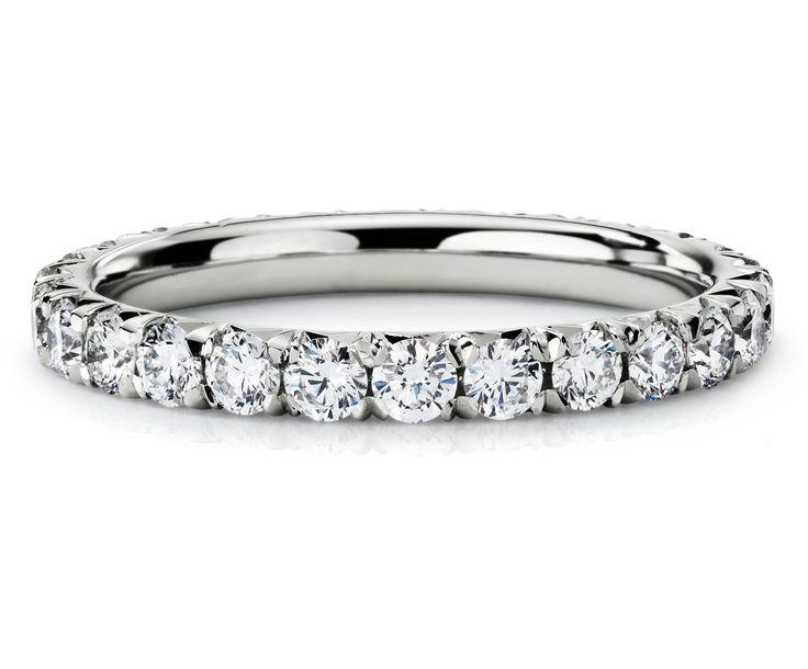 Pavé Diamond Eternity Ring in Platinum #BlueNile beautiful wedding band!