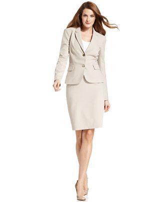 Calvin Klein Khaki Skirt Suit - All Suits & Suit Separates - Women - Macy's