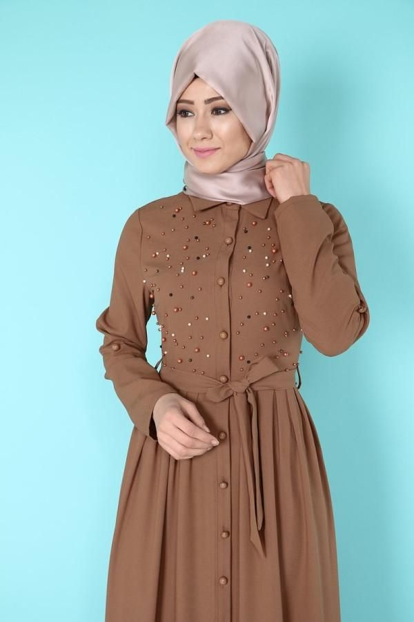 Beautiful and Elegant Dress and makes you shine 😍 Enjoy a discount up to 10% for dresses  tall 145 - normal size - wash on 30 C degree  Moda Hurrem  Code : 9856 BROWN  #abaya #jilbab #muslimahwear #muslimah #muslim #hijabers #hijabfashion  https://hijablooms.ca/collections/dresses/products/kettan?utm_content=buffer7dc1b&utm_medium=social&utm_source=pinterest.com&utm_campaign=buffer