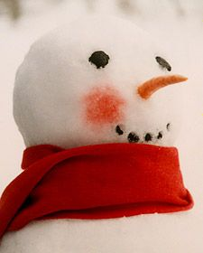 Rosy-Cheeked Snowman: Surely the snowman gets cold out there -- but winter's