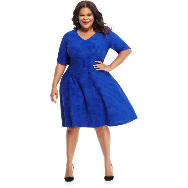 Maggy London London Times Curve Maisy Fit & Flare ($59) ❤ liked on Polyvore featuring plus size women's fashion, plus size clothing, plus size dresses, dresses, blue, plus size, womens plus dresses, women plus size dresses, a line dress and v-neck dresses