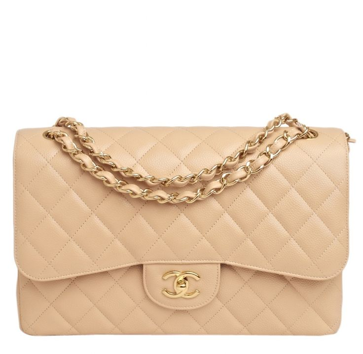 Chanel Beige Quilted Caviar Leather Jumbo 2.55 Double Flap Bag