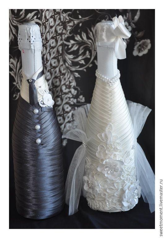 Купить Оформление свадебного шампанского Нежность - белый, айвори, свадебные аксессуары, оформление шампанского