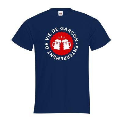 """T-shirt Homme FRUIT OF THE LOOM Bleu Marine - T-shirt """"Enterrement de vie de garçon + bières"""" Enterrement de vie de garçon #evg #mariage #enterrementviedegarcon #bière #comboutique #tshirtpersonnalisé"""