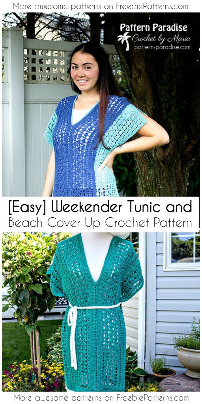 Easy Weekender Tunic And Beach Cover Up Crochet Pattern Beach Coverup Pattern Crochet Tunic Pattern Crochet Ladies Tops