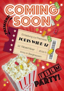 Lustige Einladung zum Kino-Kindergeburtstag mit Popcorn und Gummibärchen  #Hollywood #Film #Filmparty #Kino #Geburtstag#Einladung #einladunggeburtstag.de