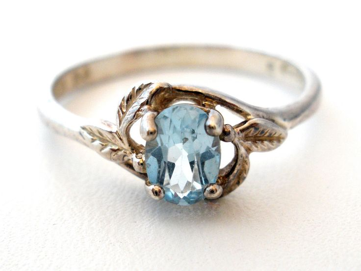 Sterling Silver Blue Topaz Ring Vintage Avon Antique