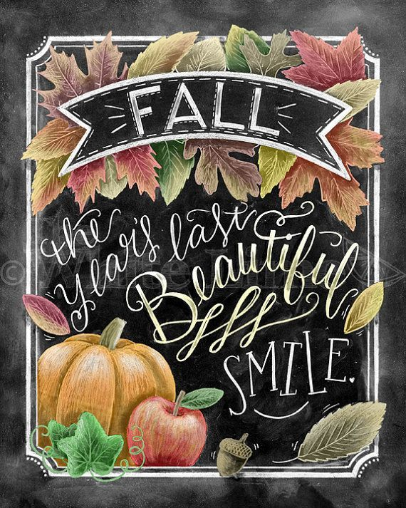 ♥ Fall - The Years Last Beautiful Smile ♥  ♥ L I S T I N G ♥ Each image is originally hand drawn with chalk and converted digitally. Chalkboard