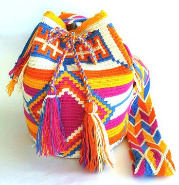 Wayuu Bag- Traditional Blue Large size: Cross body and shoulder bag