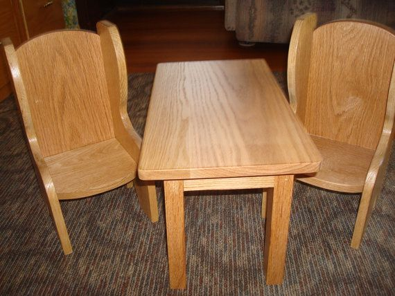 Oak Doll Table and Chairs Fits American Girl Doll by MainStCrafts, $50.00