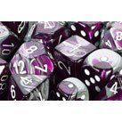 Polyhedral 7-Die Gemini Dice Set - Purple-Steel with White by Chessex. Save 3 Off!. $9.67. Gemini dice were introduced in 2006 and were immediately very popular. Each dice has a beautiful blend of two base colors, making these dice a unique addition to any dice collection. This set contains one d20, one d12, two d10 (00-90 and 0-9), one d8, one d6, and one d4.