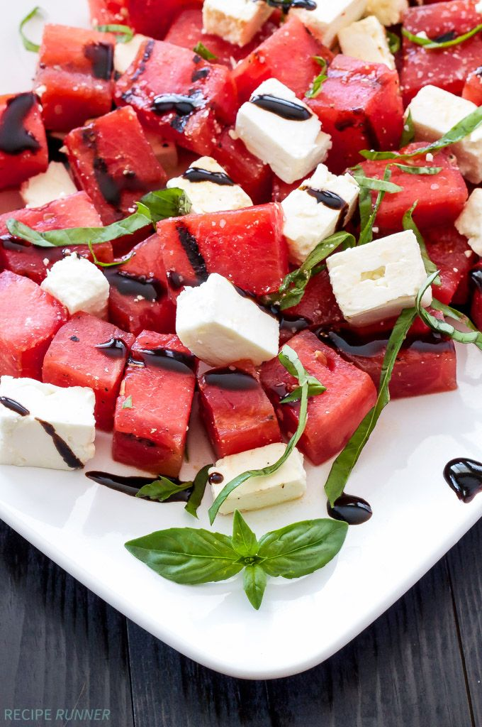 Grilled Watermelon, Feta, and Basil Salad   Sweet grilled watermelon, salty feta, and fresh basil taste so good together in this summer salad!
