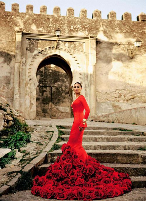 gorgeous red gown - flamenco style