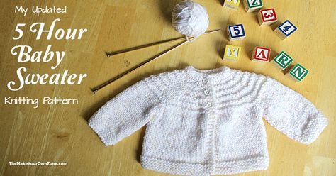 My updated knitting pattern for this classic quick knit 5 hour baby sweater. Includes free printable pdf pattern too.