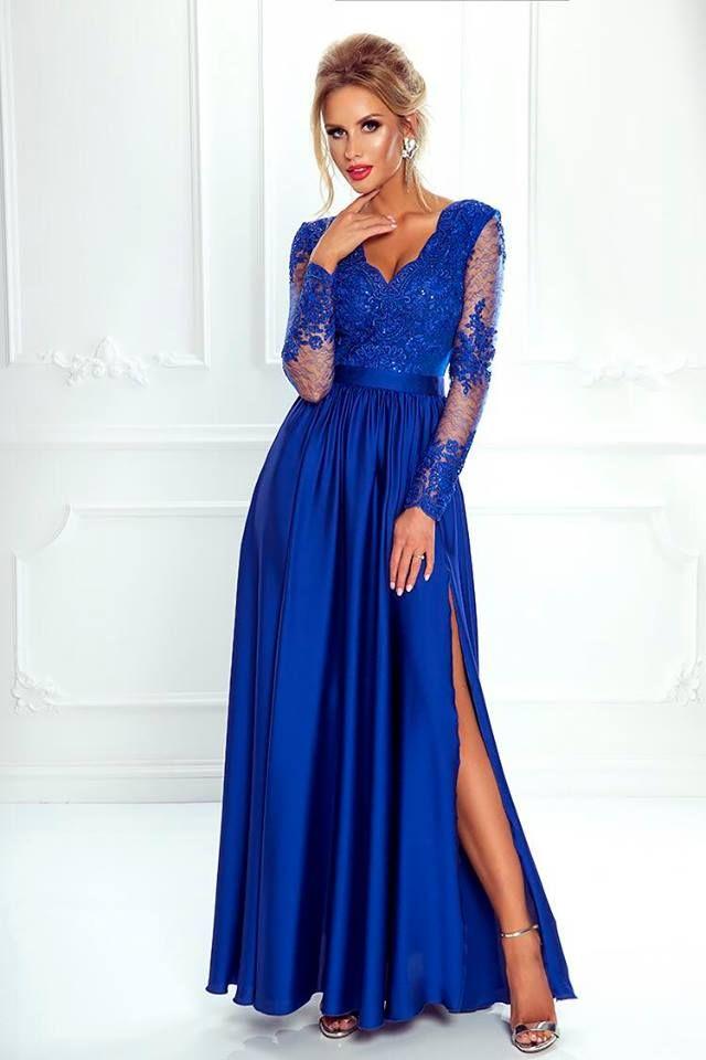 76c227d13 Dlhé večerné šaty s dlhým tylovým rukávom ozdobeným čipkou. Saténová sukňa  je na jednej strane