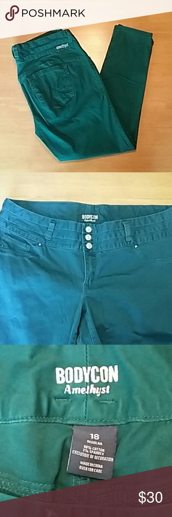 "Amethyst Teal Skinny Jeans Teal Bodycon skinny jeans, super soft sueded finish, triple-button wide waistband. Only worn twice but discovered a small dark spot on the front of the right leg (see pic #4). It is not noticeable unless you are looking for it, but wanted to be completely honest with my listing. Measurements: 30"" inseam, 10"" front rise, 38"" waist. Amethyst Jeans Jeans Skinny"