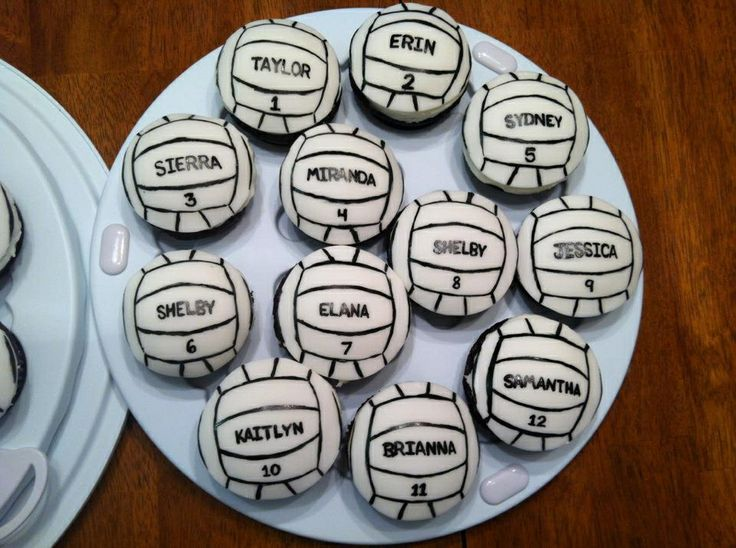volleyball cupcakes - chocolate cupcakes.  handpainted fondant.