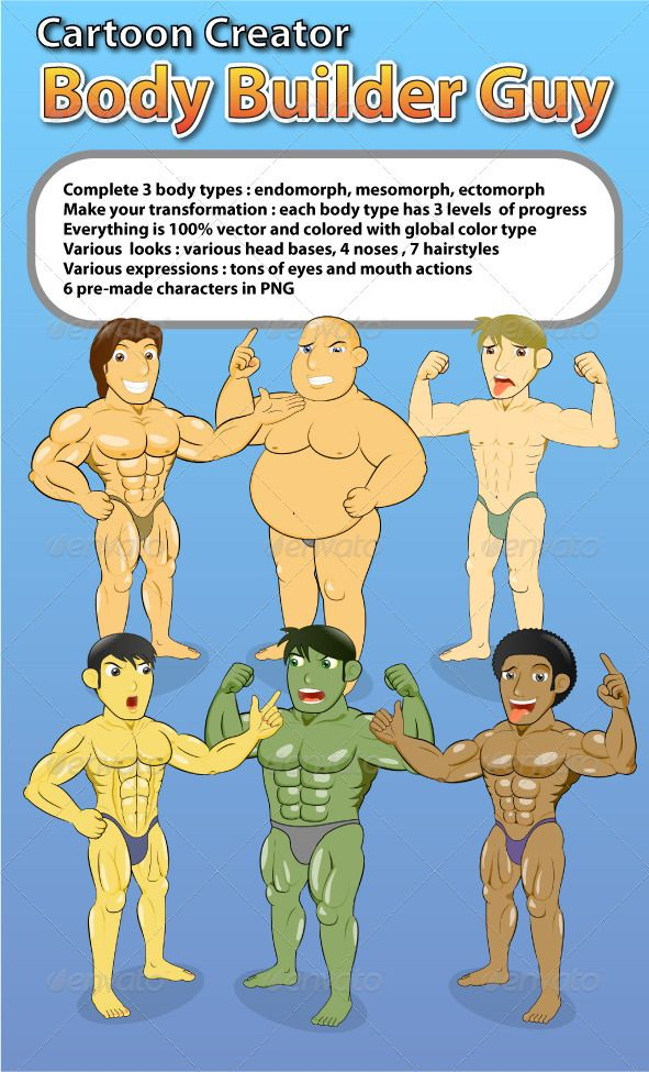 Cartoon Creator Body Builder Guy Creation Kit — Vector EPS #skinny #workout • Available here → https://graphicriver.net/item/cartoon-creator-body-builder-guy-creation-kit/1817898?ref=pxcr