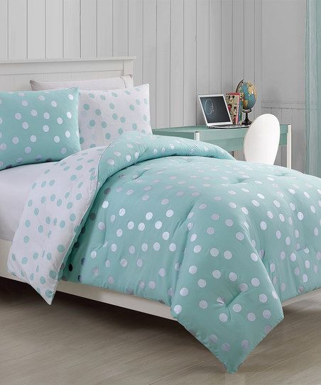 Victoria Classics Metallic Aqua Dotty Three-Piece Comforter Set | zulily