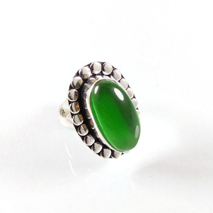 Valentine Exclusive !! Green Onyx Gemstone Silver Plated Ring Jewelry Size 7  #Gajrajgems92_9 #Rings