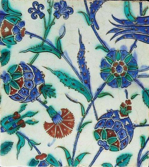 Iznik (Turkish) tile - late 16th early 17th cent.