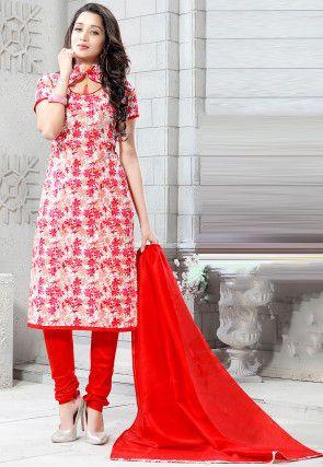 Costum floral imprimat de bumbac drept în alb și roșu
