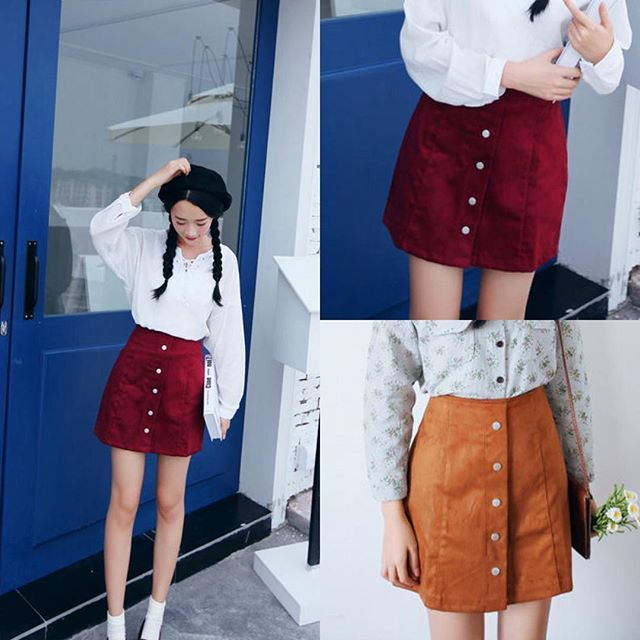 """🍷Try on the wine red version and """"Goodbye blue monday~"""" . 👋50% off weekly deal: Sens Collection - Buttoned A-Line Skirt (US$13.95) 98.9% customers satisfied ❤️️ . 💖 New customers could now enjoy our welcoming duo: Extra 10% off + Free worldwide shipping w/ coupon 💲YESSTYLE💲on 1st purchase for orders US$35 or above! Coupon & shipping terms apply. . 🌀Can be purchased on have2have.it/yesstyle . #YesStyle #LinkInProfile #Fashion #asianstyle #asian #style #Buttoned #ALine #Skirt #winered…"""