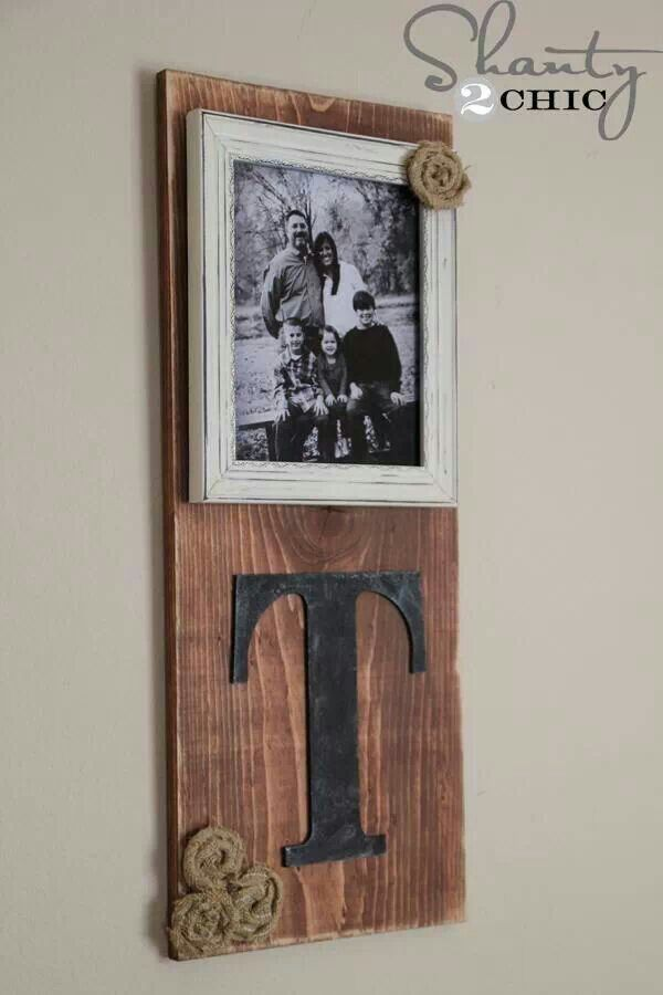 Cute DIY family photo holder from barn wood and craft letter