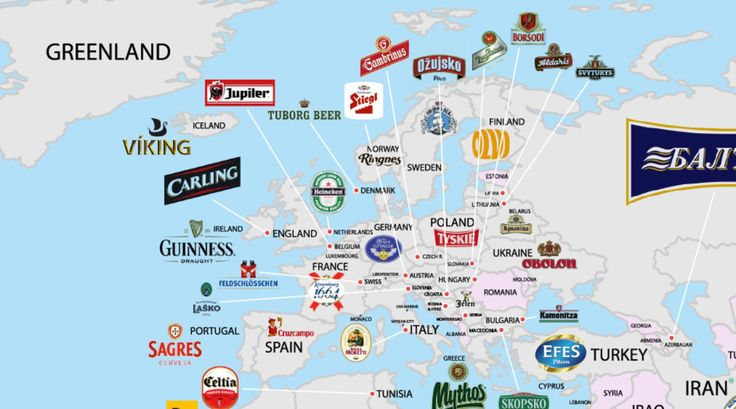 Most consumed beer in Europe by country.