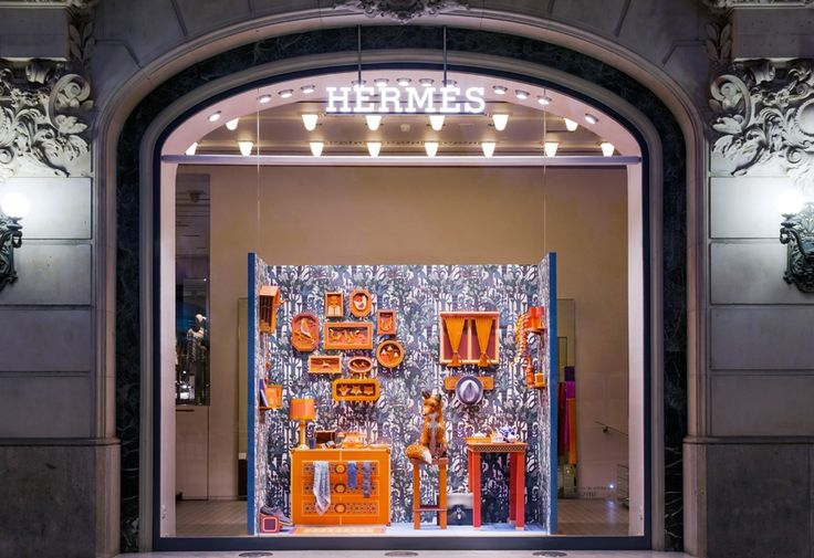 The Fox's Den by Zim&Zou for Hermès - French studio Zim&Zou depict the tale of a fox in their crisp and colourful shop window for Hermès. Consuming a total of 68 tubes of glue, 144 large sheets of paper and over 50 days of work from duo Lucie Thomas and Thibault Zimmerman, the window display tells the story of a fox – made completely out of leather offcuts from Hermès' workshops – who has set up home in the brand's Barcelona store.