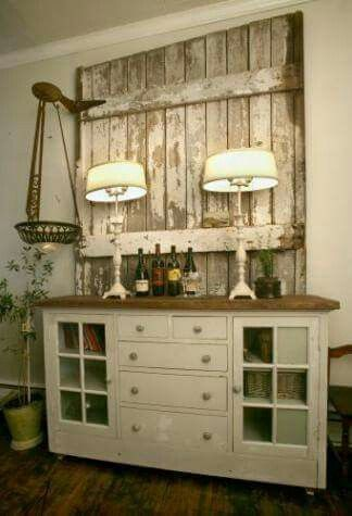 Use an old behind a cabinet to add visual interest and character!