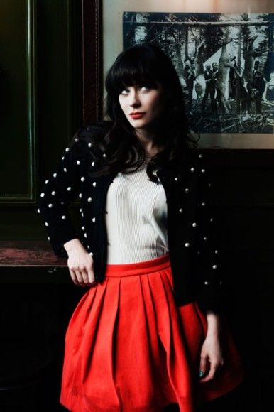 Zooey's polka dot sweater with red skirt in Forbes