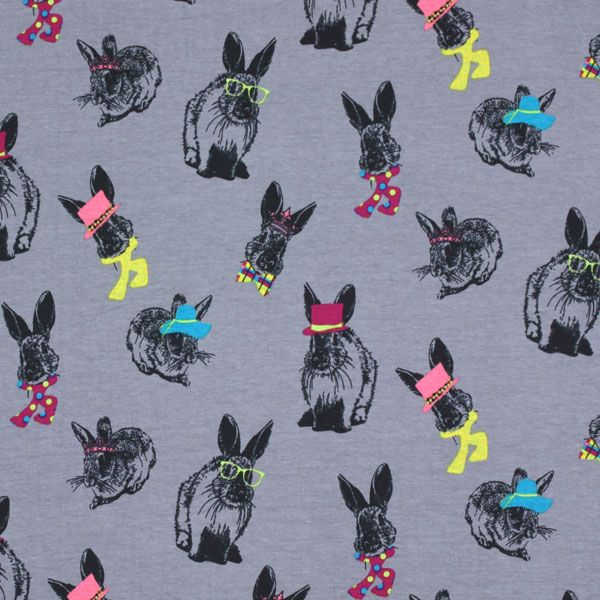 Jersey radiant rabbit 1 grey children 39 s fabrics for Grey childrens fabric