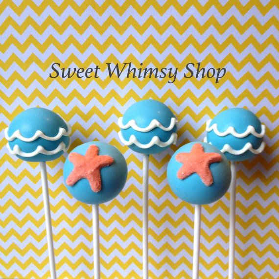 12 Ocean Wave & Starfish Cake Pops for Beach by SweetWhimsyShop