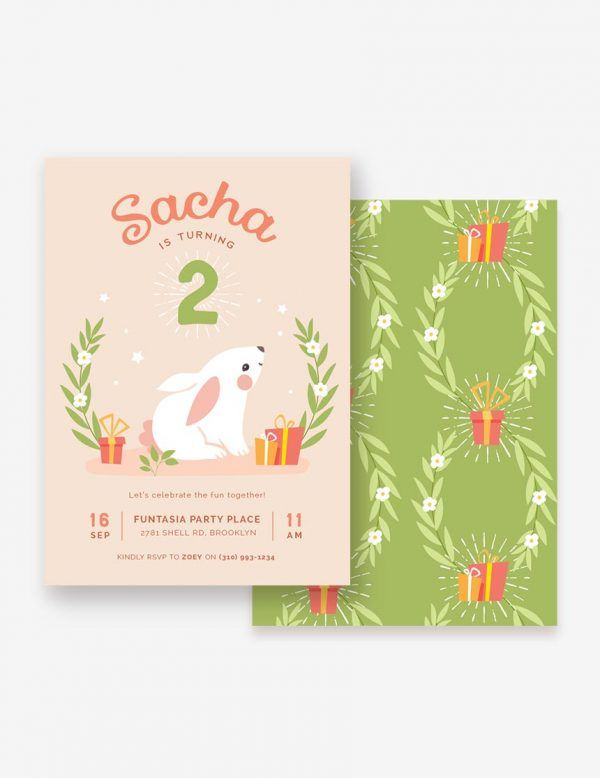 Sweet Bunny Kids Birthday Invitation, Baby Girl Invitation. Shop this printable at www.inatondesign.com