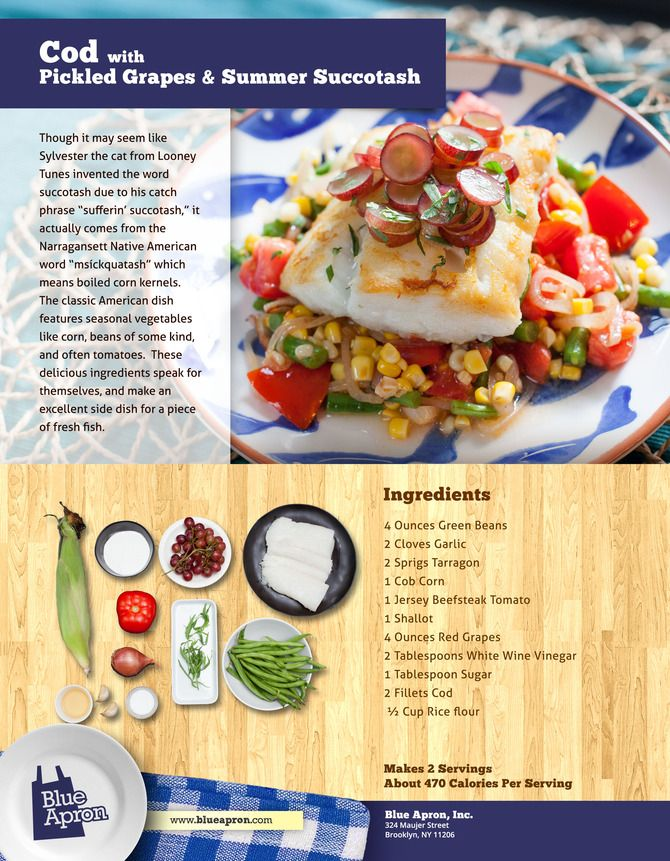 Cod with Pickled Grapes & Summer Succotash (Green Beans, Garlic, Corn ...