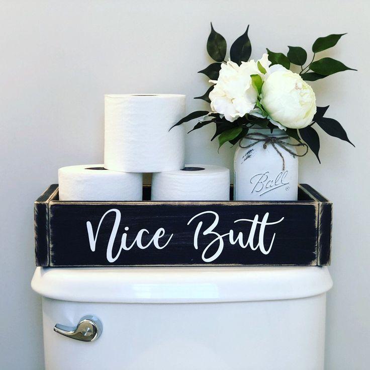 Nizza Hintern Badezimmer Dekor, Bad Organizer Box-in Distressed Black, Script Font Bad Lagerung, Bad Humor, Toilettenpapierhalter