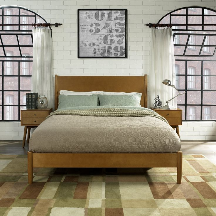 Best Mid Century Modern Acorn Brown King Platform Bed Landon 400 x 300