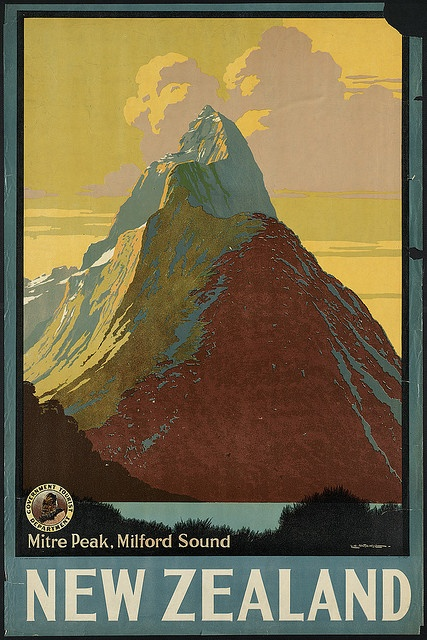 Vintage New Zealand travel poster by L.C. Mitchell