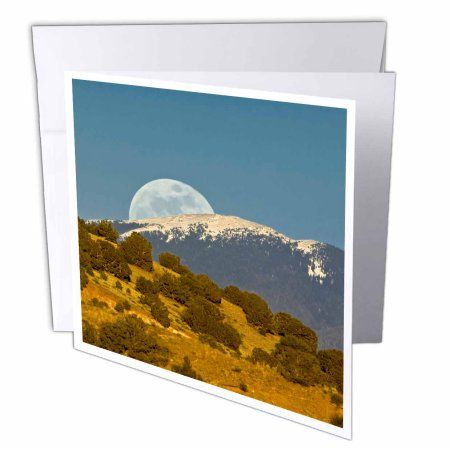 3dRose Moonrise, Sangre de Cristo Mountains, New Mexico - US32 LKL0039 - Lee Klopfer, Greeting Cards, 6 x 6 inches, set of 12