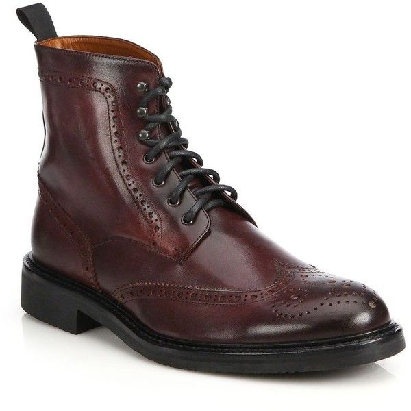 Saks Fifth Avenue Collection Wingtip Leather Ankle Boots ($290) ❤ liked on Polyvore featuring men's fashion, men's shoes, men's boots, apparel & accessories, burgundy, mens leather lace up boots, mens leather ankle boots, mens wingtip boots, mens leather boots and mens leather shoes