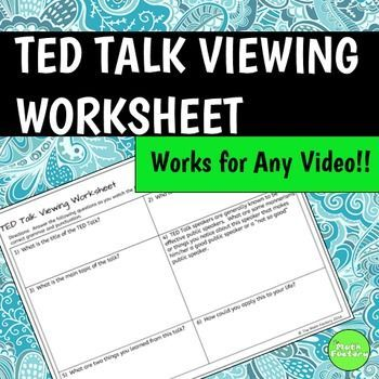 TED Talks are great for use in any classroom and this viewing worksheets helps your students stay on track and pay attention.Be sure to follow my store to be notified of new products, sales, and monthly flash freebies!