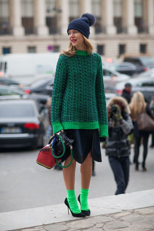 Jxxsy socks and shoes and a knit makes green good. Paris Street Style Fall 2013 - Paris Fashion Week Style Fall 2013 - Harper's BAZAAR