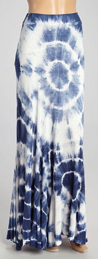 Navy and White Tie Dye Maxi Skirt